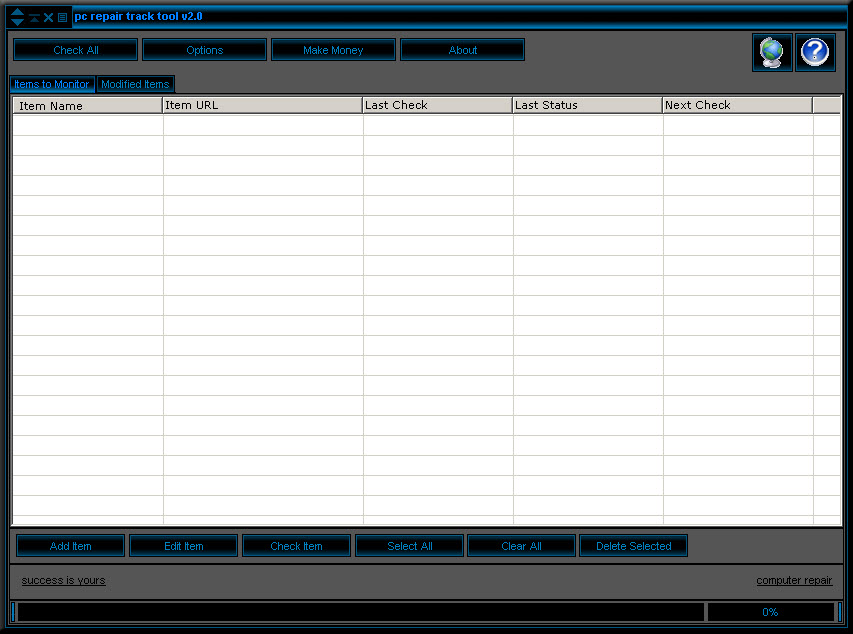 Click to view pc repair webtracker 1.0 screenshot